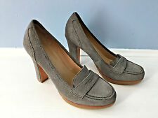 Talbots Gray Suede Leather High Heel Loafer Exellent 6 M Career