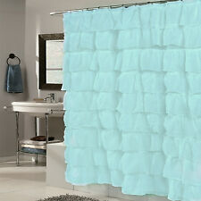 "Elegant Crushed Voile Ruffled Fabric Tier Shower Curtain 70""x72""- Spa Blue"