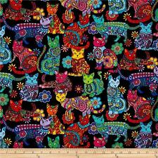 Timeless Treasures Colour Me Cat Multi - Fabric 1 Unit = Fat Quarter