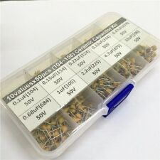 10Valuesx50 0.1uF~10uF (104~106) Monolithic Ceramic Capacitor Assorted kit box