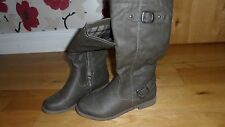 Fab Ladies Taupe Faux Leather Boots, UK Size 3