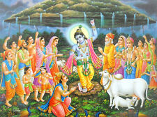 Lord Krishna lifting Goverdhan Mountain on His finger poster(20X16 inches) #2160
