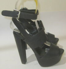 "New  black  6""block high heel peep toe WOMEN'S ankle strap sexy SANDAL  Size  6"
