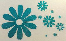TEAL Glitter Flowers Flower Power Daisy Car Sticker Decal Vinyl 01-03