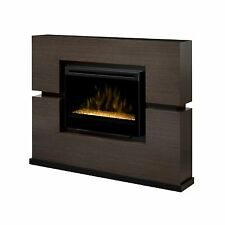"Dimplex Linwood rift gray electric TV fireplace media stand 33"" acrylic ice fire"