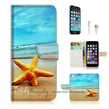 iPhone 7 (4.7') Flip Wallet Case Cover P0021 Beach Starfish