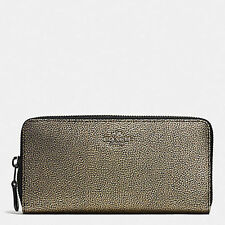 NWT Coach Metallic Leather Accordion Zip Around Wallet 52338 Vapor BLK(VA)/Brass