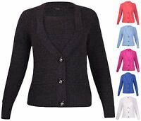 Womens Plus Size Long Sleeve Ladies Button Boucle Wool Knit Cardigan Jumper Top