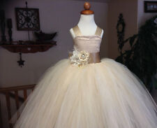 2015 Vintage champagne wedding flower girl tutu dress with corset and sash++