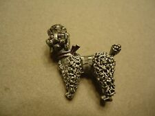 Vintage RETRO Gray & Purple Enamel French Poodle Puppy Dog Brooch Pin