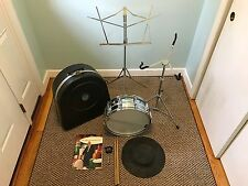 Ludwig Supraphonic Blue Olive Badge 14x5 10 lug snare drum Case Stand Book Etc