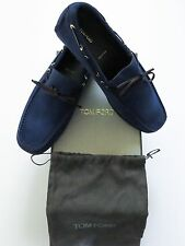 $890 NIB TOM FORD Rare Blue Color Calf Suede Shoes Loafers Size 9.5 US 42.5 Euro