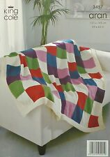 KNITTING PATTERN Bright Squared Blanket/Throw/Afghan Aran KC 3457