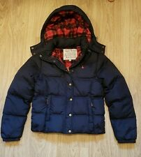 JACK WILLS CHARLSEY PUFFA DOWN HOODED JACKET COAT NAVY SIZE 10 TARTAN EXCELLENT