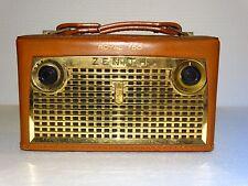 VINTAGE  ZENITH ROYAL 750 ALL TRANSISTORS LONG DISTANCE RADIO 1957 COWHIDE CASE