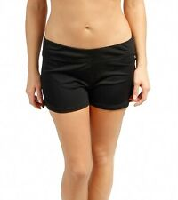 SPEEDO WOMEN'S BRIEF BOY SHORTS BIKINI SWIM BOTTOMS BLACK SOLID SIZE 14 NEW! $48