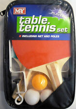 Table Tennis Set (2 Bats, 3 Balls, Net and Clamps) with zip up case *Great Gift*