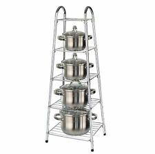 5 Tier Chrome Kitchen Pan Stand Pot Saucepan Storage Organise Unit Rack Holder