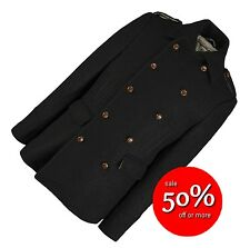 SAVE £150! Sterling Mens Double Breasted Wool Jacket Coat Black Medium RRP £300