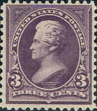 #268 1895 3 CENT JACKSON BUREAU ISSUE MINT-OG/NH--VF+