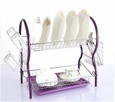 Contempo 2 Tier Plates Dish Cutlery Cup Drainer Rack Drip Tray Holder Purple