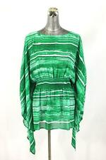 NEW $110 womens green white MICHAEL KORS shirt top batwing dolman modern L XL