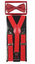 Red w/ dot toddler bow tie and  Red suspenders set - baby boy/girl Accesorries
