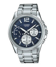 Original New Casio MTP-E305D-2A Silver Steel Mens Watch Day & Date MTP-E305
