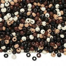 8100NB  Bead Wood Mix Color Tan Black Brown White, 3mm, Rondelle 1000 Qty