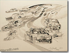 """GEORGE BARTELL art Ford Nascar History 22""""x17"""" signed by artist George Bartell"""