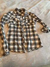 Guess brand size XS Western V Neck Black snap plaid shirt 100% Cotton