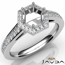 Hexagon Pave Setting Diamond Engagement Round Cut Semi Mount Ring Platinum 0.5Ct
