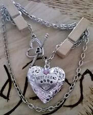 Beautiful Best Freind Paw print heart locket necklace :0) holds 2 pictures