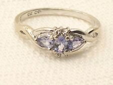 Estate 10K White Gold Tanzanite & Diamond Ring Designer Hallmark