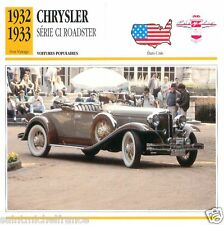 CHRYSLER SERIE CI ROADSTER 1932 1933 CAR VOITURE USA ETATS-UNIS CARTE CARD FICHE