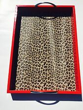 Red Cheetah Leopard Animal Print Serving Platter Table Bed Breakfast Tray Handle