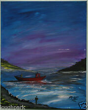Irish Art RED FISHING BOAT IN BAY Original Oil Painting Artist PEARSE MCCALLION