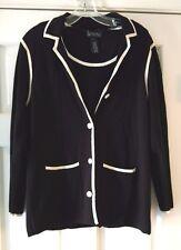 KATE HILL & JONES NY BLACK & WHITE Trim~Twinset Sweaters -Sz PL* CLASSIC!