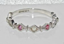 9ct White Gold Ruby & Diamond Art Deco Design Eternity Ring - size Q