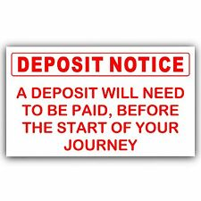A Deposit is Required Sticker-Adhesive Taxi,Minicab Cab Driver Car Sign Notice