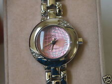 Nice New Q&Q by Citizen Lady Dress Watch w/Pink Dial & Diamond Bezel
