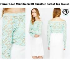 LADIES FLOWER LACE OFF SHOULDER TOP BLOUSE SIZE 8-10 GREEN BODYCON DRESS PARTY