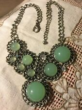 "Grandmas Estate Necklace Faux Jade Jelly Cabachon Rhinestone 18-20"" Silvertone"
