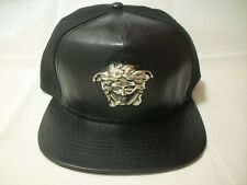 Medusa Snake God Silver buckle 3D Black half patent leather unique hat snapback