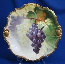 LIMOGES HAND-PAINTED GRAPES CLUSTERS ARTIST SIGNED CABINET PLATE