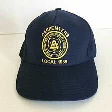 Vtg Union Hat Leather Strapback Streetwear Local 1539 Carpenters Made USA