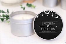 Personalised Soy Candle Tins Wedding /Birthday Favours Bomboniere. Black & white