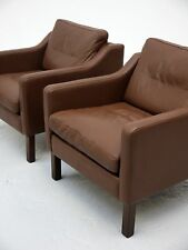 1970s VINTAGE ORIGINAL DANISH BROWN LEATHER LOUNGE CHAIR BORGE MOGENSEN DENMARK
