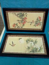 "Vintage Asian Art Paintings Of Birds On Trees Flowers SET OF 2   9"" x 15"""