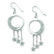 .925 Sterling Silver Sentimental Expressions® CZ Moon and Stars Dangle Earrings
